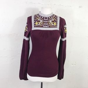 Free People Eggplant Combo Embroidered Ribbed Top